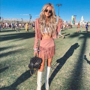 NBD Rylan Fringe Skirt in Rose Tan
